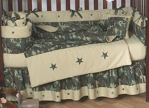 Green And Brown Camo Camouflage Military Baby Boy Bedding