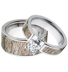 his and hers matching mossy oak brush camouflage wedding ring set - Camo Wedding Ring Sets His And Hers
